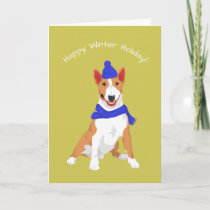 Blue Winter Hat and Shawl Miniature Bull Terrier Card