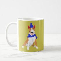 Blue Winter Hat and Shawl Miniature Bull Terrier Coffee Mug