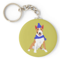 Blue Winter Hat and Shawl Miniature Bull Terrier Keychain