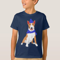 Blue Winter Hat and Shawl Miniature Bull Terrier T-Shirt