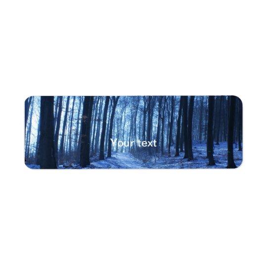 Blue Winter Landscape Label