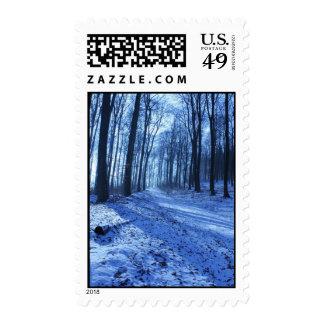 Blue Winter Landscape Postage
