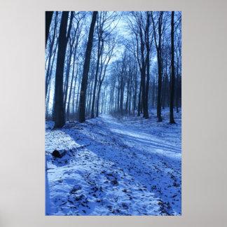 Blue Winter Landscape Poster