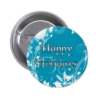 Blue Winter Meadow - Happy Holidays Pinback Button