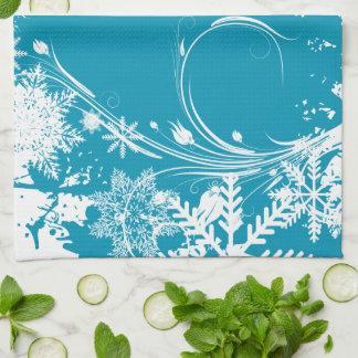 Blue Winter Meadow - Happy Holidays Hand Towel