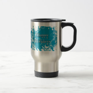 Blue Winter Meadow - Happy Holidays Travel Mug