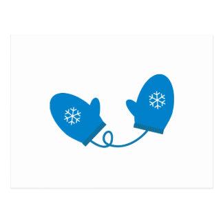 Blue Winter Mittens Postcard