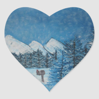 Blue Winter Oils on Canvas PRINT Heart Sticker