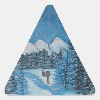 Blue Winter Oils on Canvas PRINT Triangle Sticker
