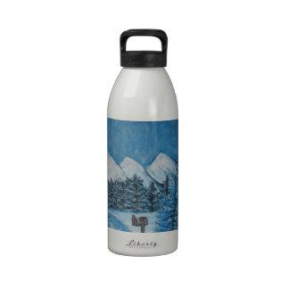 Blue Winter Oils on Canvas PRINT Water Bottles