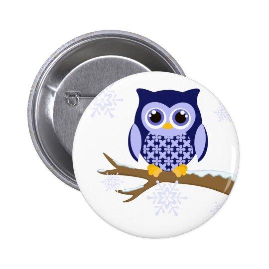 Blue winter owl button
