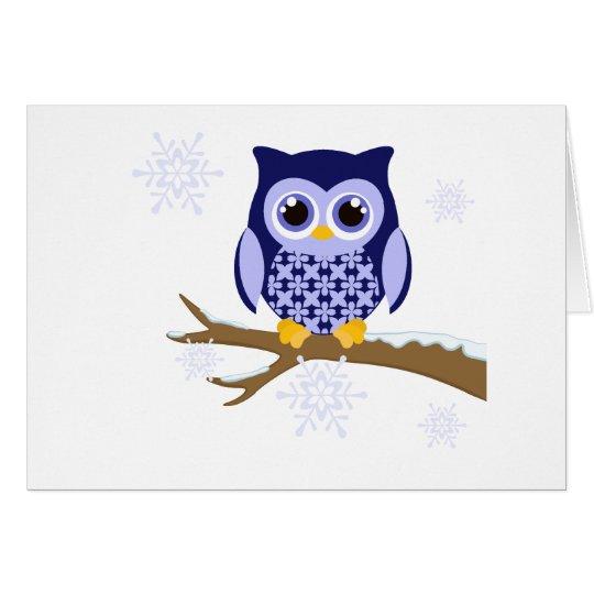 Blue winter owl card