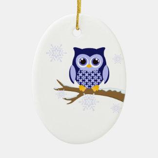 Blue winter owl ceramic ornament