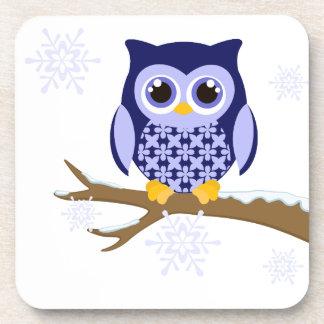 Blue winter owl coaster