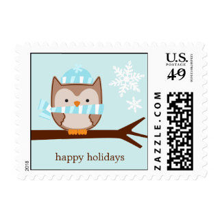 Blue Winter Owl Custom Postage