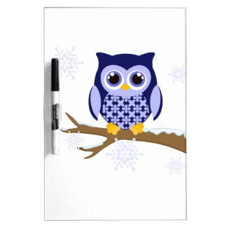 Blue winter owl Dry-Erase whiteboards