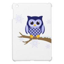 Blue winter owl iPad mini case