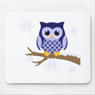 Blue winter owl mouse pad