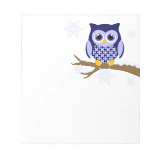 Blue winter owl memo pad