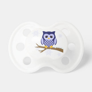 Blue winter owl pacifier