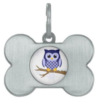 Blue winter owl pet ID tag