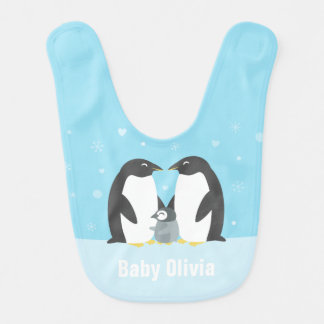 Blue Winter Penguin Family Baby Bib