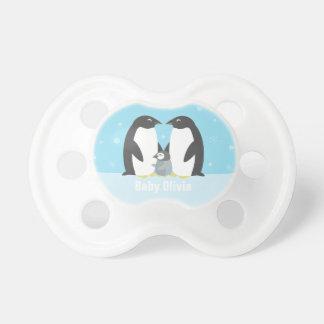 Blue Winter Penguin Family Baby Pacifier
