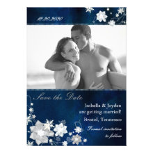 Blue Winter Photo Wedding Floral Save the Date Announcement