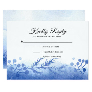 Blue Winter Pine branches and berries RSVP Cards