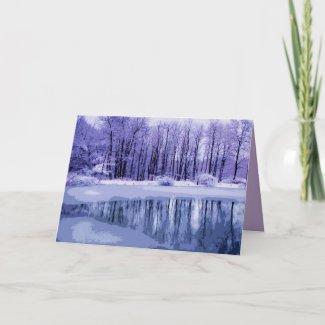 Blue Winter Pond Christmas Card