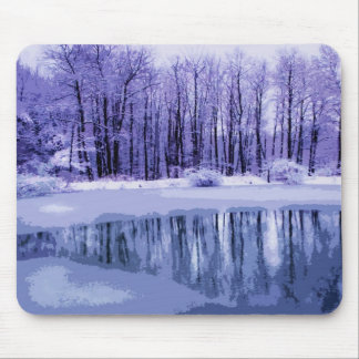 Blue Winter Pond Mouse Pad