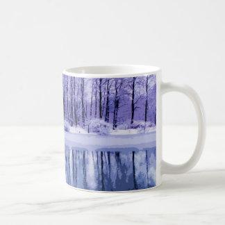 Blue Winter Pond Coffee Mugs