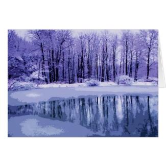 Blue Winter Pond Seasons Greetings Card
