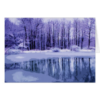 Blue Winter Pond Thank You Card