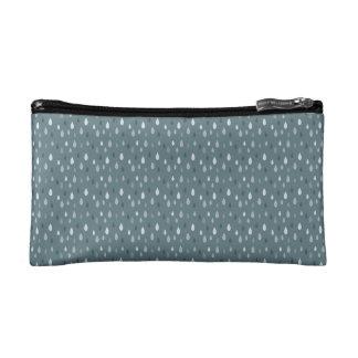 Blue Winter Rain Drops Pattern Cosmetic Bag
