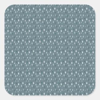 Blue Winter Rain Drops Pattern Square Sticker