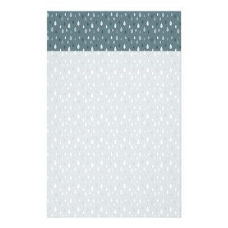 Blue Winter Rain Drops Pattern Stationery