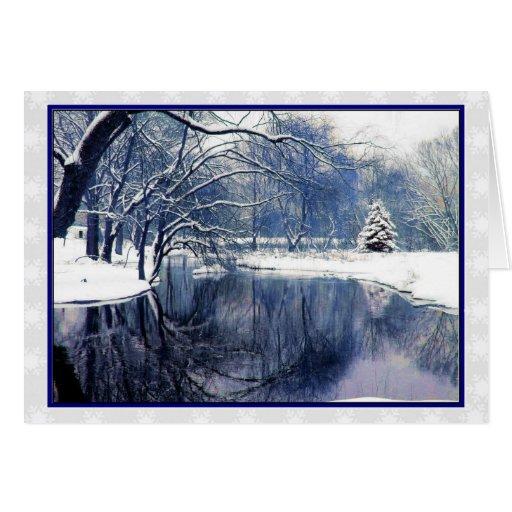 Blue Winter Scene Christmas Greeting Card