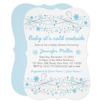 Blue Winter Snowflake Baby Shower Card