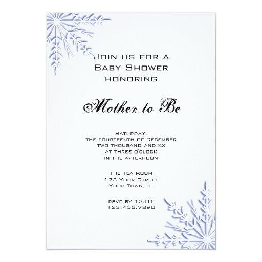 blue winter snowflake baby shower invitation zazzle