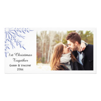Blue Winter Snowflake First Christmas Together Card