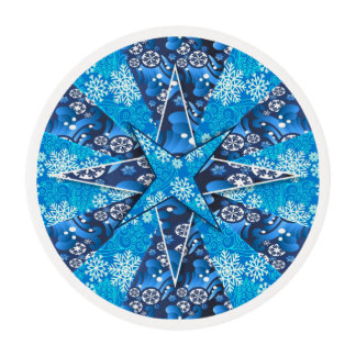 Blue Winter Snowflake Fractal Edible Frosting Rounds