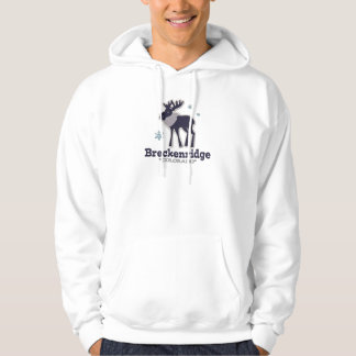 Blue winter snowflake moose Breckenridge Colorado Hoodie