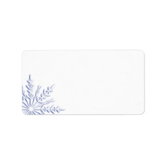 Blue Winter Snowflake on White Label