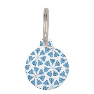 Blue Winter Snowflake Pattern Pinwheel Pet Name Tag