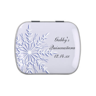 Blue Winter Snowflake Quinceanera Party Favor Candy Tin