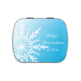 Blue Winter Snowflake Quinceañera Party Favor Jelly Belly Candy Tin
