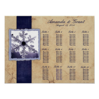 Blue Winter Snowflake Wedding Seating Chart Poster
