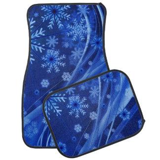 Blue Winter Snowflakes Christmas Car Mat