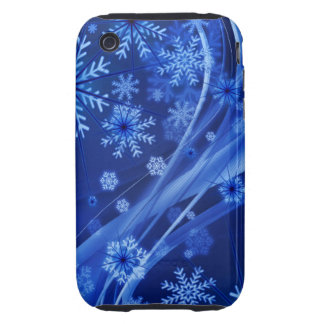 Blue Winter Snowflakes Christmas Tough iPhone 3 Cover